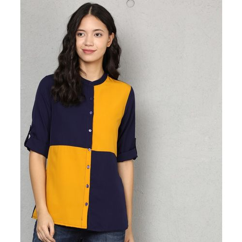 Metronaut Women Color Block Casual Yellow, Dark Blue Shirt