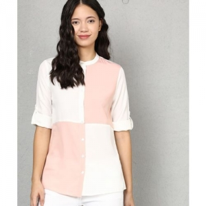 Metronaut Women Color Block Casual White, Pink Shirt