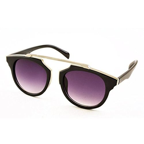 Stacle Geometric Browline Retro Round Unisex Sunglasses (ST7072|58|Multiple Colours)