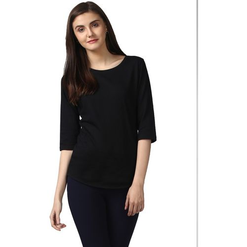 Young Trendz Solid Women Boat Neck Black T-Shirt