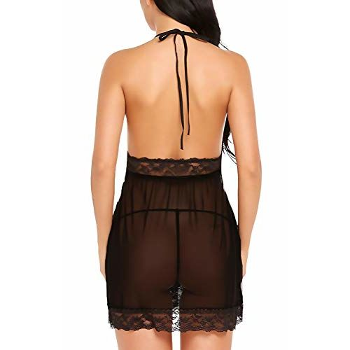 Xs and Os Women Babydoll Nightwear Lingerie Lace Bordered Design (Panty Included)