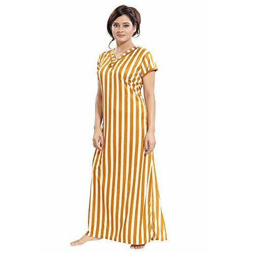 TUCUTE Yellow Sarina Night Gown with Floral Print Border
