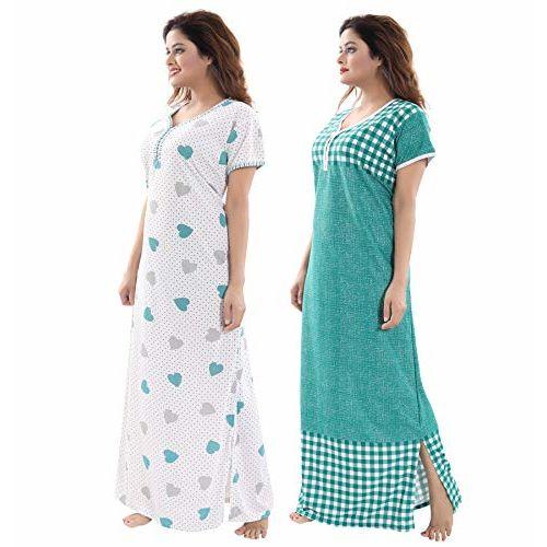TUCUTE Women/Girls Beautiful Denim Print Floral Print Nighty Offer (Pack of 2) XL-40 XXL-44 Smart Combo