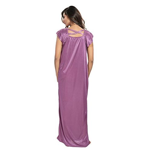 TWO DOTS Women's Long Satin Nighty Gown (Free Size)