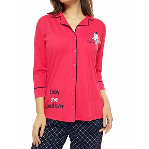 ZEYO Women's Cotton Green & Cherry Pink Check Print Night Suit
