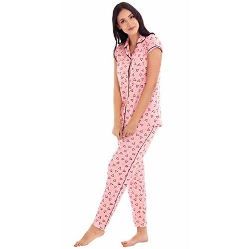 ZEYO Women's Night Suit & Night Shirt | Red & Pink Front Open Night Dress with Nachos Print | Pure Cotton Night wear | Top and Pyjama Set with Half Sleeve
