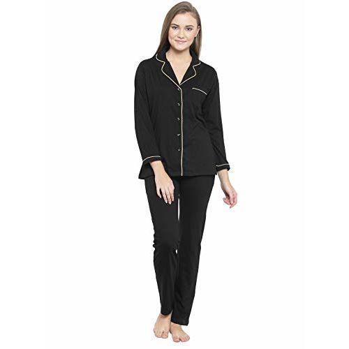 Claura Black Cotton Night Suit