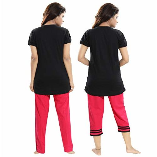 TUCUTE  Cotton Hosiery 3 pcs Top, Pajama & Capri Nightwear