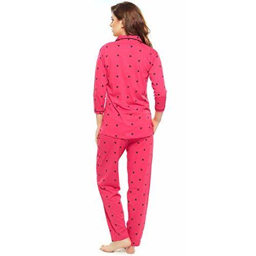 ZEYO Pink Cotton Heart Print Night Suit