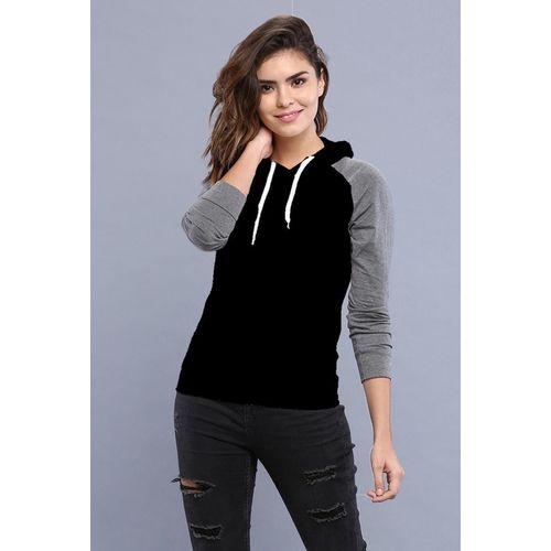 PRETTE Color Block Women Hooded Neck Grey, Black T-Shirt