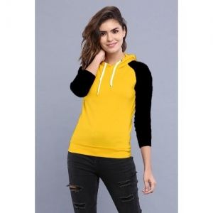 PRETTE Color Block Women Hooded Neck Yellow, Black T-Shirt