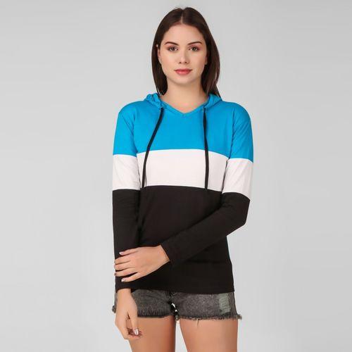 Elepants Color Block Women Hooded Neck Light Blue T-Shirt
