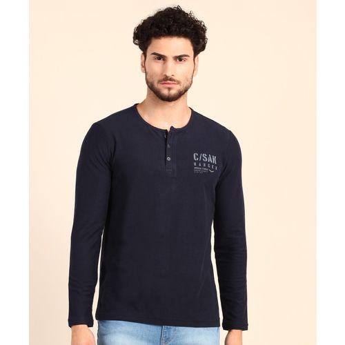 Spykar Solid Men Henley Neck Dark Blue T-Shirt