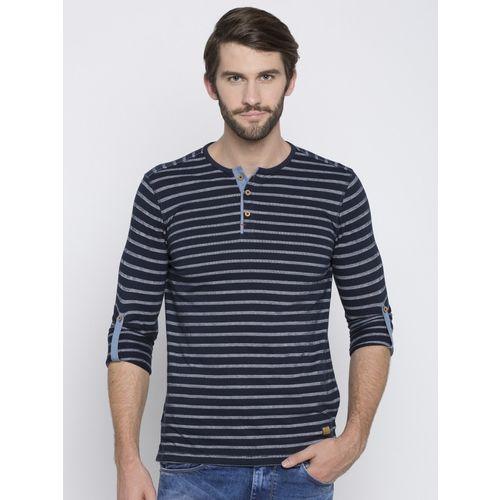 Spykar Striped Men Henley Neck Dark Blue T-Shirt