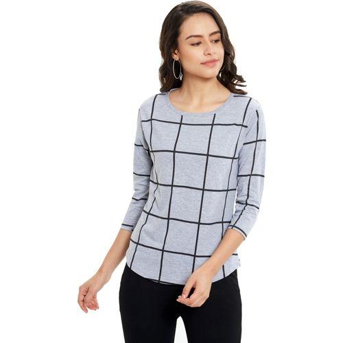 Maniac Checkered Women Round Neck Grey, Black T-Shirt
