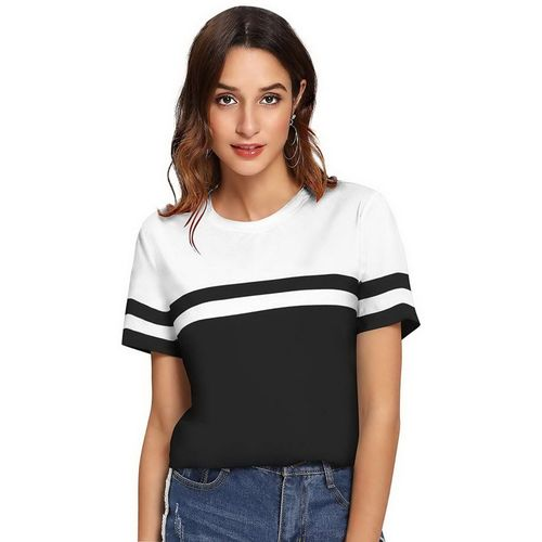 Tap in Color Block Women Round Neck Black, White T-Shirt