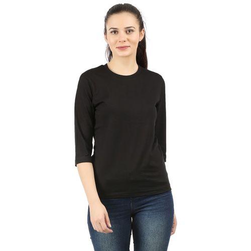 Checkersbay Solid Women Round Neck Black T-Shirt