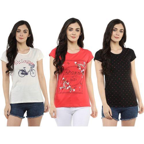 MODEVE Graphic Print Women Round Neck Pink, White, Black T-Shirt(Pack of 3)
