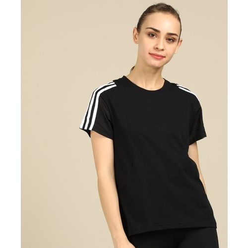 ADIDAS Solid Women Round Neck Black T-Shirt