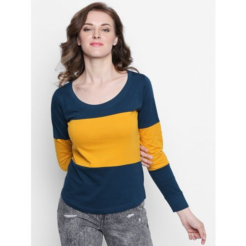The Dry State Solid Women Scoop Neck Yellow, Dark Blue T-Shirt