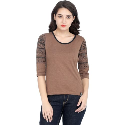 Rodid Printed Women Scoop Neck Brown T-Shirt