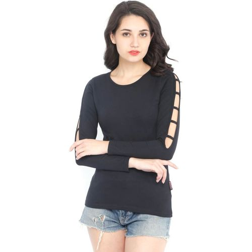 Rodid Solid Women Scoop Neck Black T-Shirt
