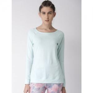 2GO Solid Women Scoop Neck Blue T-Shirt