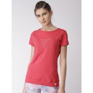 2GO Printed Women Scoop Neck Pink T-Shirt