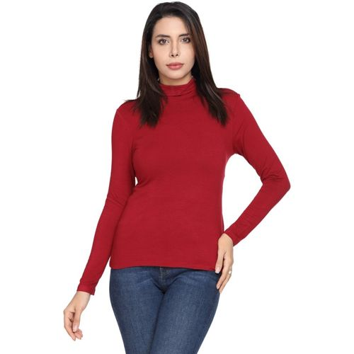SharkTribe Solid Women Turtle Neck Red T-Shirt
