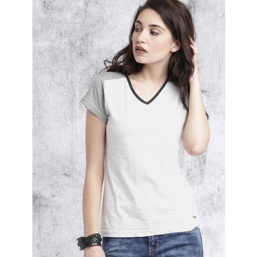 Roadster Color Block Women V Neck White T-Shirt