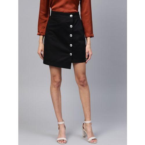 Popnetic Solid Women Asymetric Black Skirt