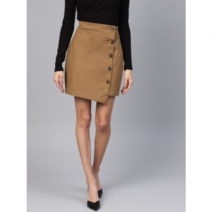 Popentic Solid Women Asymetric Brown Skirt