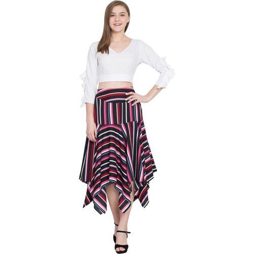 Slenor Striped Women Asymetric Multicolor Skirt