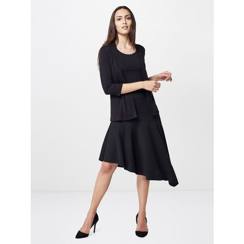 AND Solid Women Asymetric Black Skirt