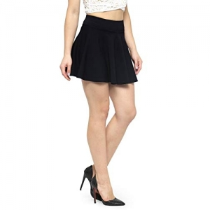 N-Gal Solid Black Cotton Solid Flared Skirt
