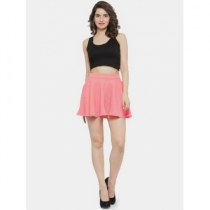 N-Gal Solid Pink Cotton Flared Skirt