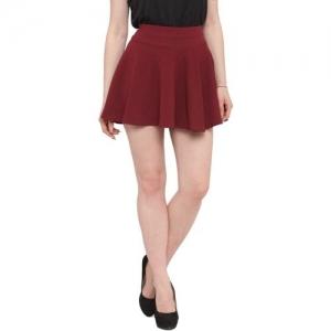 N-Gal Solid Women Flared Maroon Skirt