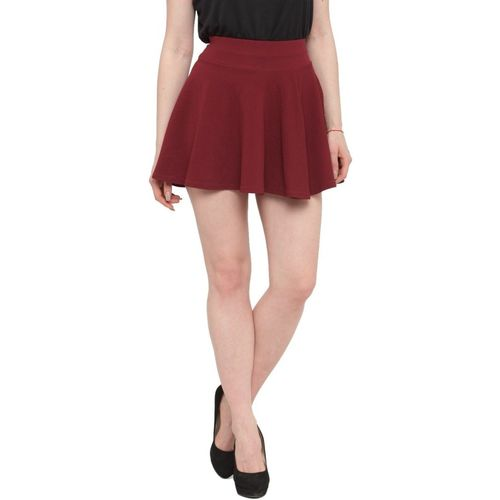 N-Gal Solid Women Flared Maroon Skirt