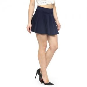 N-Gal Solid Women Flared Blue Skirt