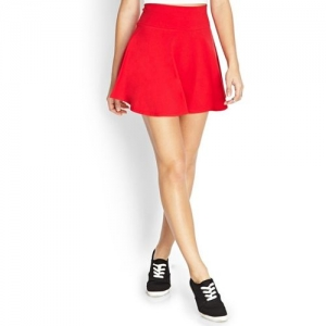 SIGHTBOMB Solid Women Flared Red Skirt