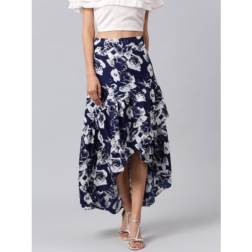 Athena Floral Print Women Flared Blue Skirt