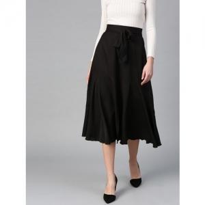 Bitterlime Solid Women Flared Black Skirt