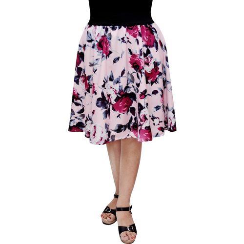 FabnFab Printed Women Gathered Pink Skirt