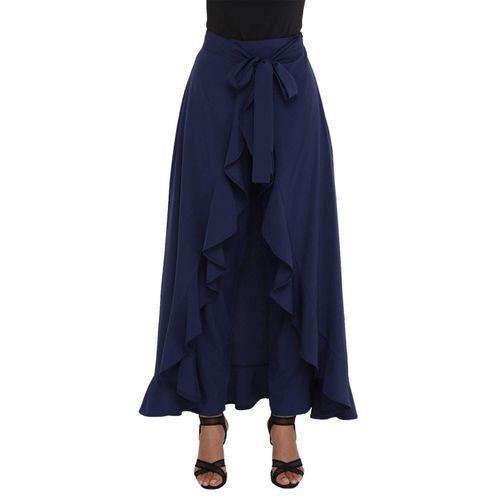 LAGOTTO Solid Women Layered Dark Blue Skirt