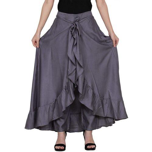 OuterWear Solid Women Layered Grey Skirt