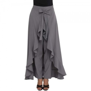 LAGOTTO Solid Women Layered Silver Skirt
