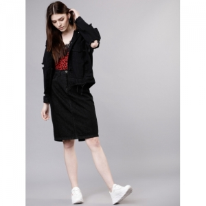 Tokyo Talkies Black Cotton Solid Women Pencil Skirt