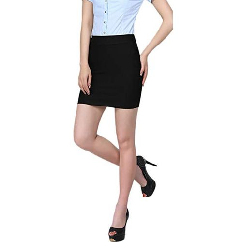 Stars and You Black Cotton Solid Pencil Skirt