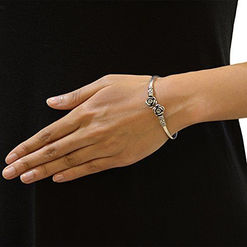 Ahilya Jewels .925 Sterling Silver Rose Cuff for Women
