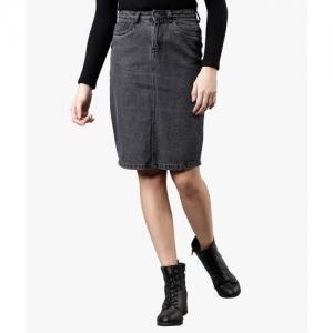 Tokyo Talkies Solid Women Pencil Grey Skirt